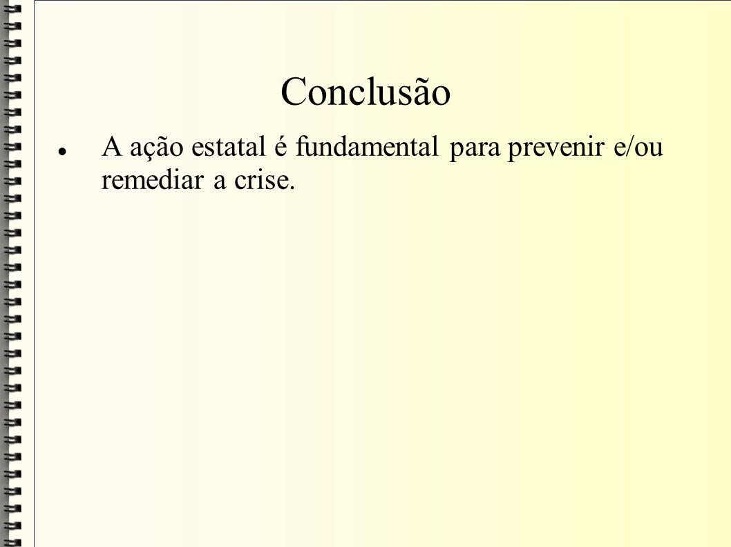 Conclusão A ação estatal é fundamental para prevenir e/ou remediar a crise.
