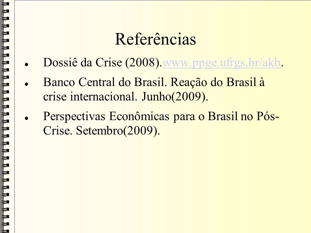 Referências Dossiê da Crise (2008).www.ppge.ufrgs.br/akb.www.ppge.ufrgs.br/akb Banco Central do Brasil. Reação do Brasil à crise internacional. Junho(