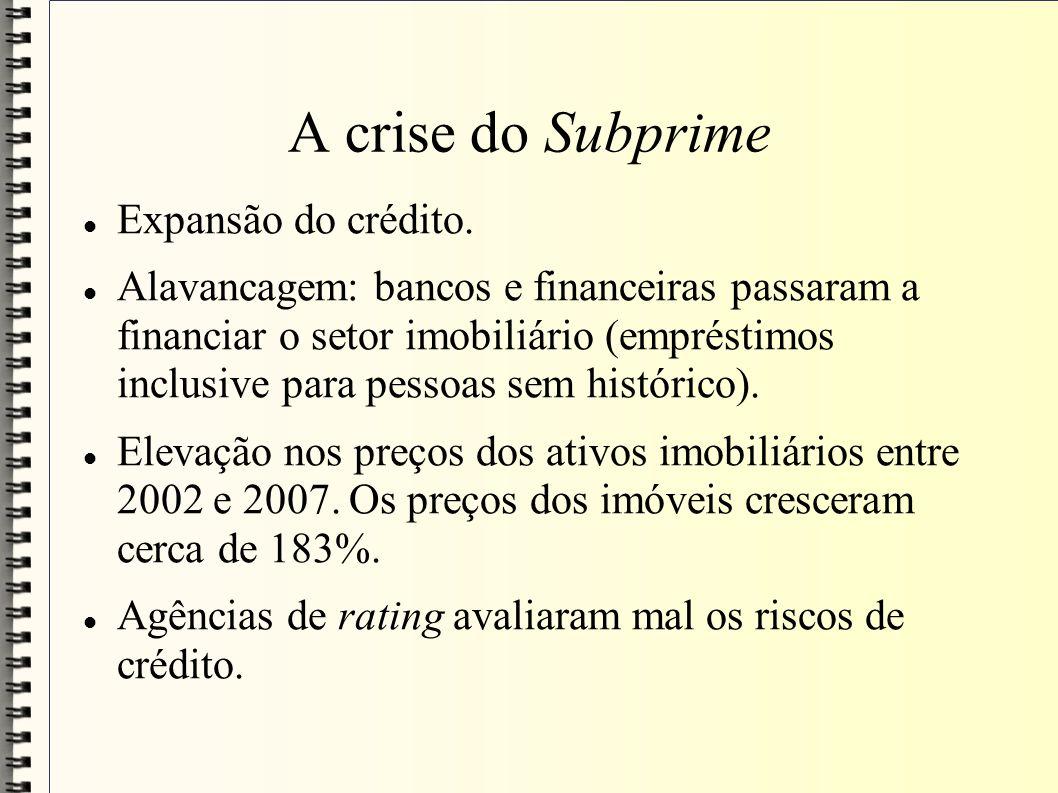 A crise do Subprime Expansão do crédito. Alavancagem: bancos e financeiras passaram a financiar o setor imobiliário (empréstimos inclusive para pessoa