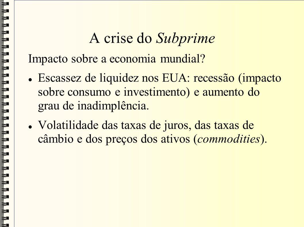 A crise do Subprime Impacto sobre a economia mundial? Escassez de liquidez nos EUA: recessão (impacto sobre consumo e investimento) e aumento do grau