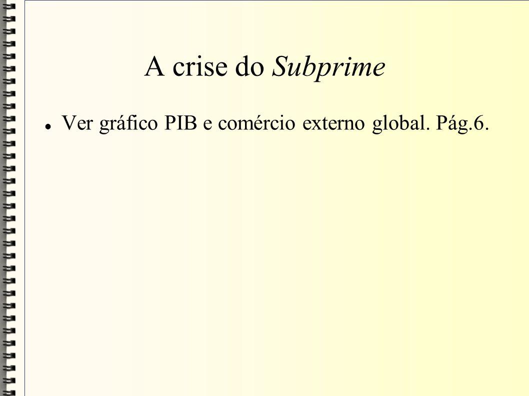 A crise do Subprime Ver gráfico PIB e comércio externo global. Pág.6.