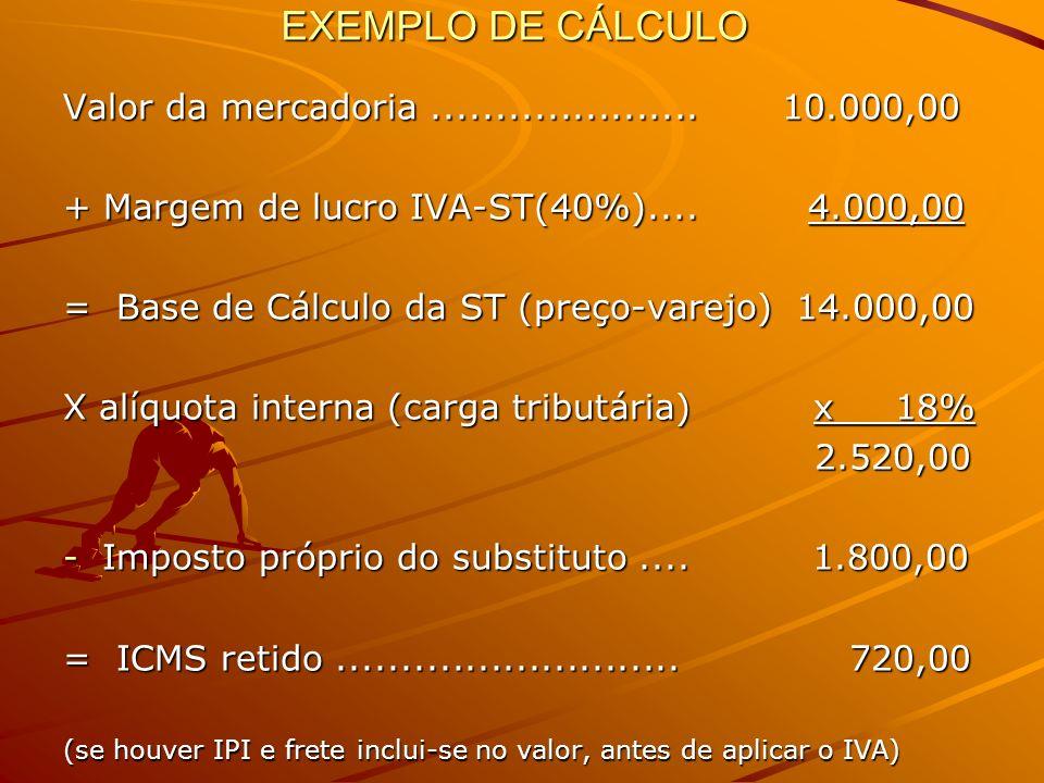 EXEMPLO DE CÁLCULO Valor da mercadoria..................... 10.000,00 + Margem de lucro IVA-ST(40%).... 4.000,00 = Base de Cálculo da ST (preço-varejo