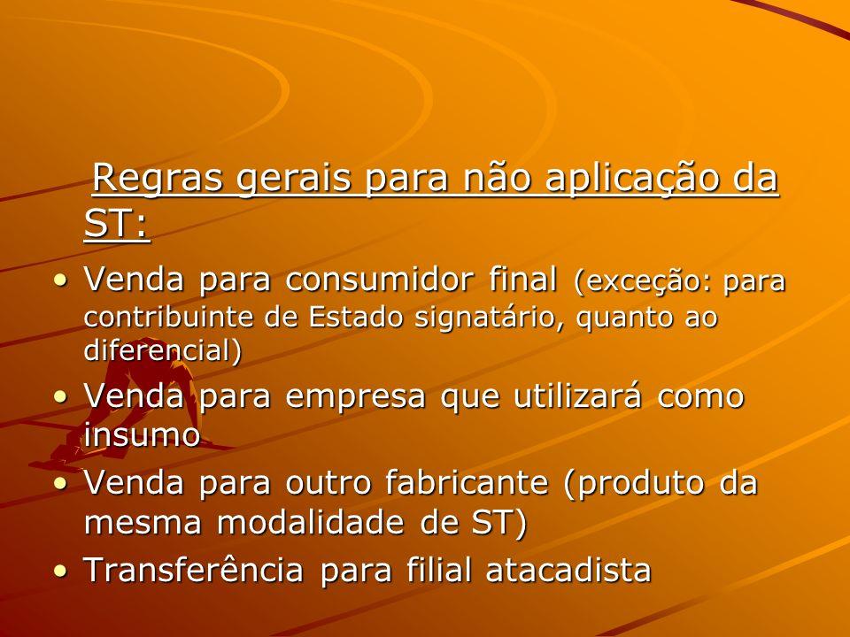 Regras gerais para não aplicação da ST: Regras gerais para não aplicação da ST: Venda para consumidor final (exceção: para contribuinte de Estado sign