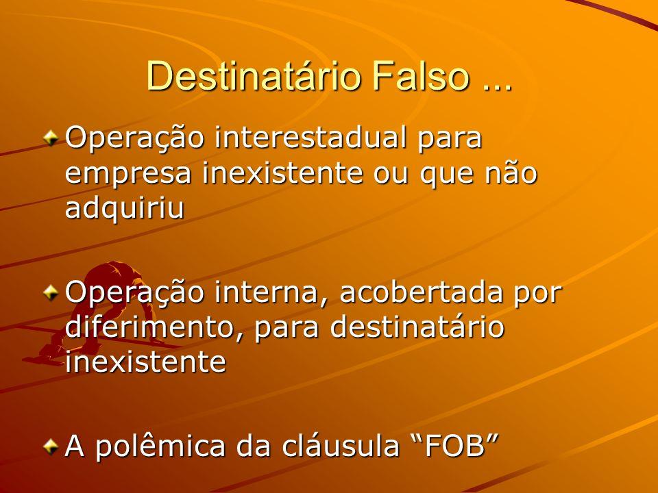 Destinatário Falso... Operação interestadual para empresa inexistente ou que não adquiriu Operação interna, acobertada por diferimento, para destinatá