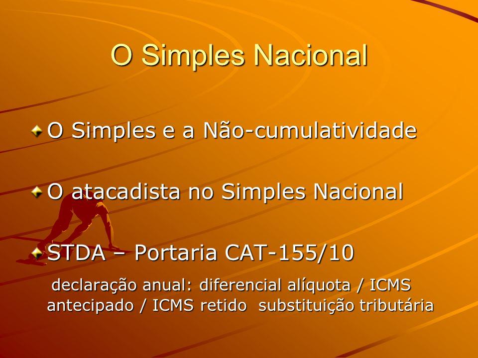 O Simples Nacional O Simples e a Não-cumulatividade O atacadista no Simples Nacional STDA – Portaria CAT-155/10 declaração anual: diferencial alíquota