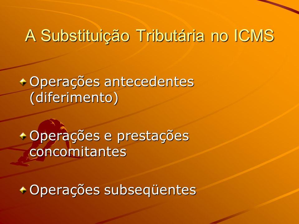 A Substituição Tributária no ICMS Operações antecedentes (diferimento) Operações e prestações concomitantes Operações subseqüentes