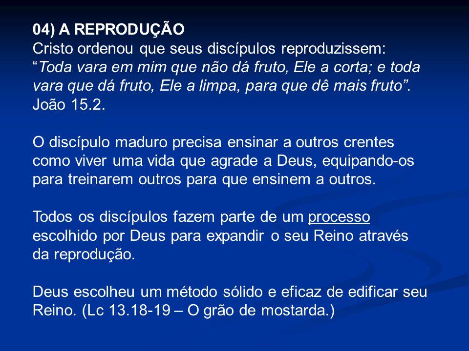 04) A REPRODUÇÃO Cristo ordenou que seus discípulos reproduzissem:Toda vara em mim que não dá fruto, Ele a corta; e toda vara que dá fruto, Ele a limp