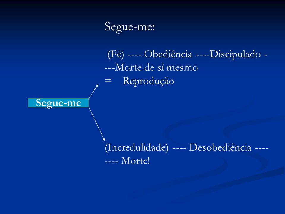 Segue-me: (Fé) ---- Obediência ----Discipulado - ---Morte de si mesmo = Reprodução (Incredulidade) ---- Desobediência ---- ---- Morte! Segue-me