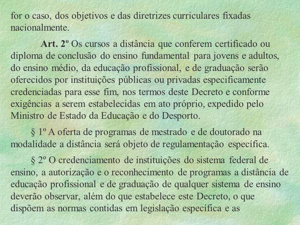for o caso, dos objetivos e das diretrizes curriculares fixadas nacionalmente. Art. 2º Os cursos a distância que conferem certificado ou diploma de co