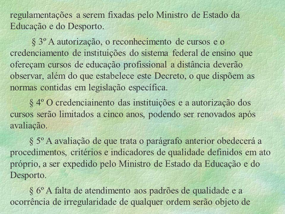 regulamentações a serem fixadas pelo Ministro de Estado da Educação e do Desporto. § 3º A autorização, o reconhecimento de cursos e o credenciamento d