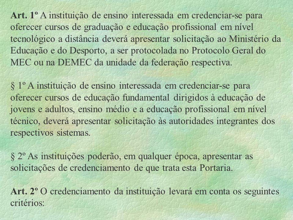 Art. 1º A instituição de ensino interessada em credenciar-se para oferecer cursos de graduação e educação profissional em nível tecnológico a distânci