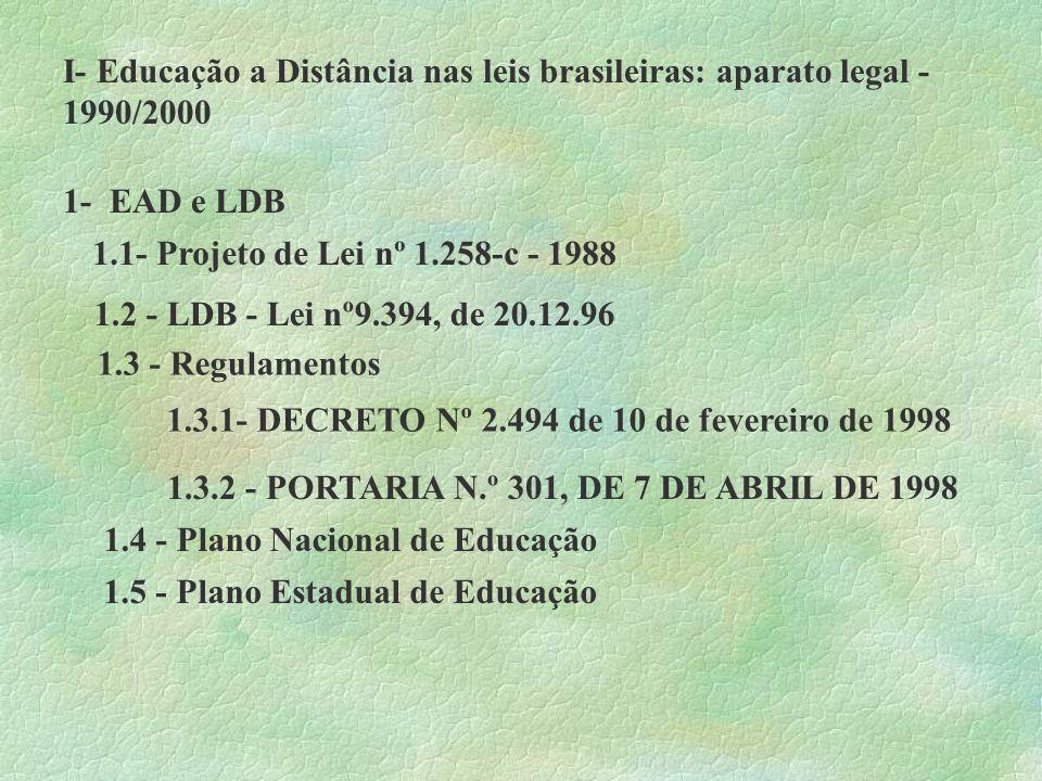 I- Educação a Distância nas leis brasileiras: aparato legal - 1990/2000 1- EAD e LDB 1.1- Projeto de Lei nº 1.258-c - 1988 1.2 - LDB - Lei nº9.394, de