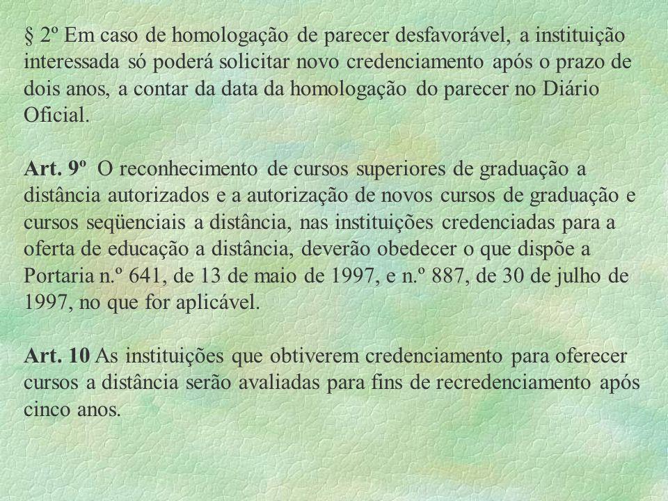 § 2º Em caso de homologação de parecer desfavorável, a instituição interessada só poderá solicitar novo credenciamento após o prazo de dois anos, a co