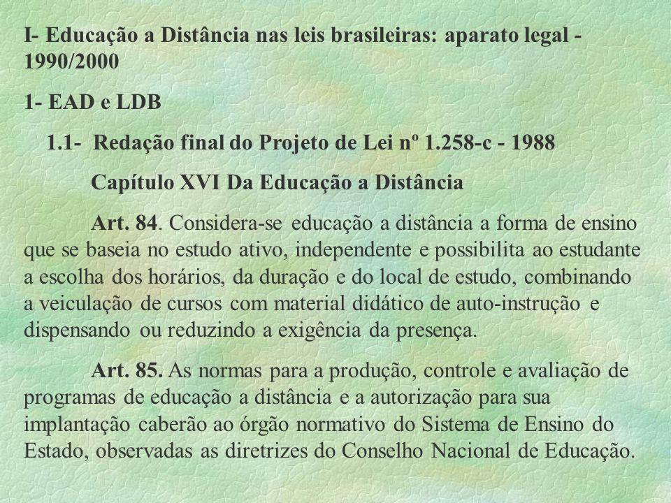 I- Educação a Distância nas leis brasileiras: aparato legal - 1990/2000 1- EAD e LDB 1.1- Redação final do Projeto de Lei nº 1.258-c - 1988 Capítulo X