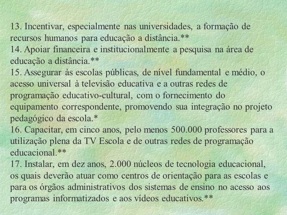 13. Incentivar, especialmente nas universidades, a formação de recursos humanos para educação a distância.** 14. Apoiar financeira e institucionalment