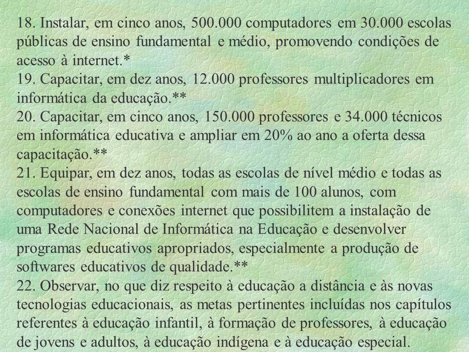 18. Instalar, em cinco anos, 500.000 computadores em 30.000 escolas públicas de ensino fundamental e médio, promovendo condições de acesso à internet.