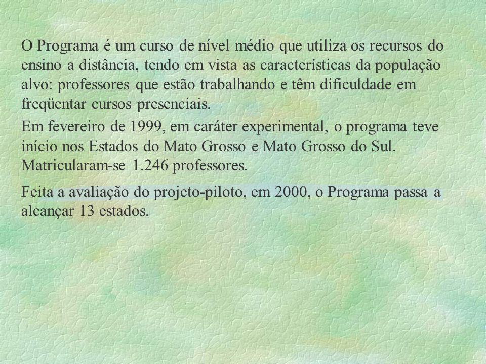O Programa é um curso de nível médio que utiliza os recursos do ensino a distância, tendo em vista as características da população alvo: professores q