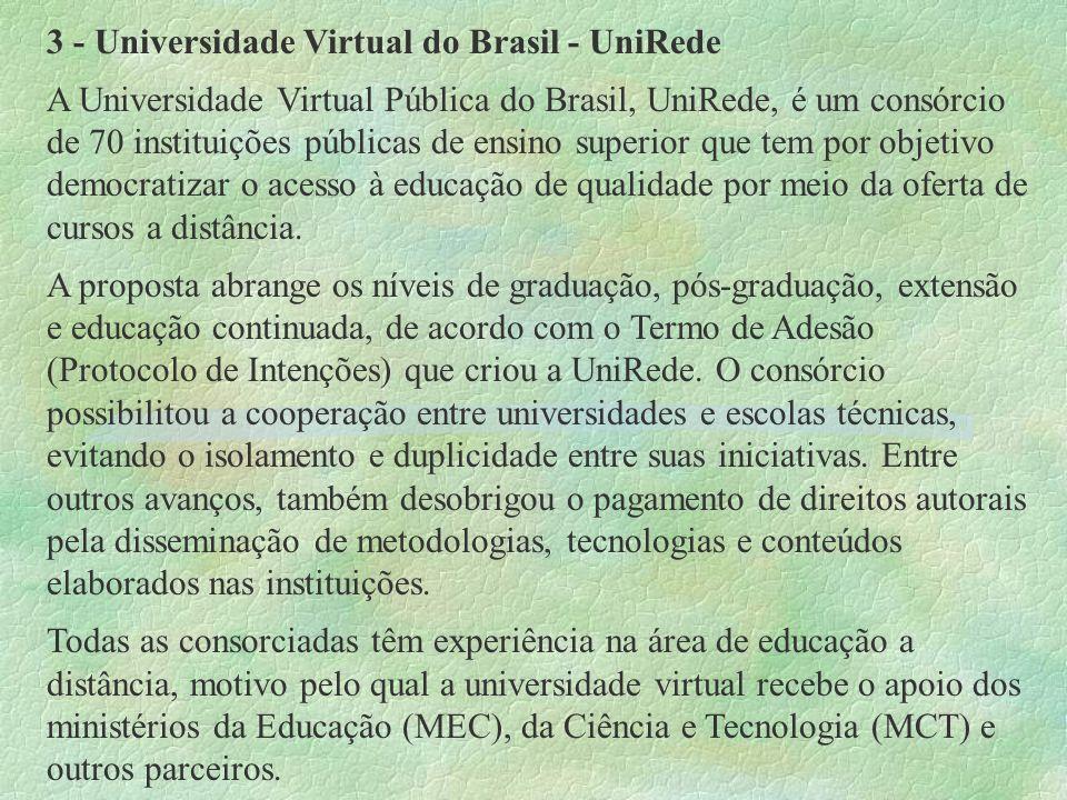 3 - Universidade Virtual do Brasil - UniRede A Universidade Virtual Pública do Brasil, UniRede, é um consórcio de 70 instituições públicas de ensino s