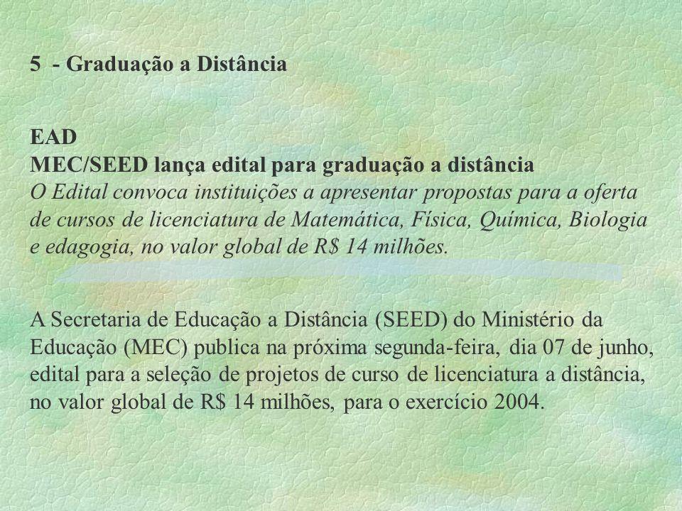 5 - Graduação a Distância EAD MEC/SEED lança edital para graduação a distância O Edital convoca instituições a apresentar propostas para a oferta de c