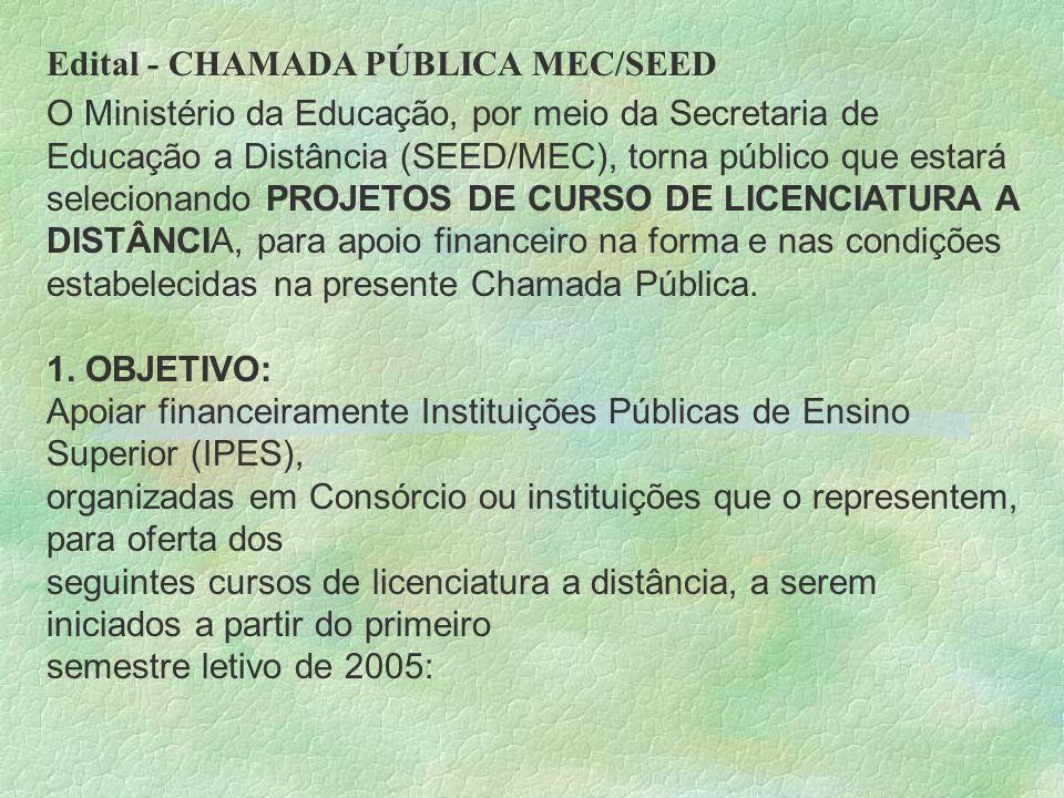 Edital - CHAMADA PÚBLICA MEC/SEED O Ministério da Educação, por meio da Secretaria de Educação a Distância (SEED/MEC), torna público que estará seleci