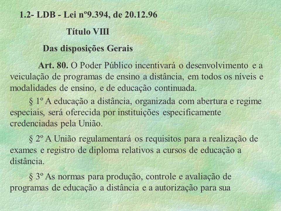 1.2- LDB - Lei nº9.394, de 20.12.96 Título VIII Das disposições Gerais Art. 80. O Poder Público incentivará o desenvolvimento e a veiculação de progra