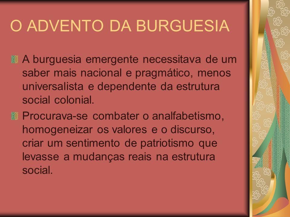 O ADVENTO DA BURGUESIA A burguesia emergente necessitava de um saber mais nacional e pragmático, menos universalista e dependente da estrutura social