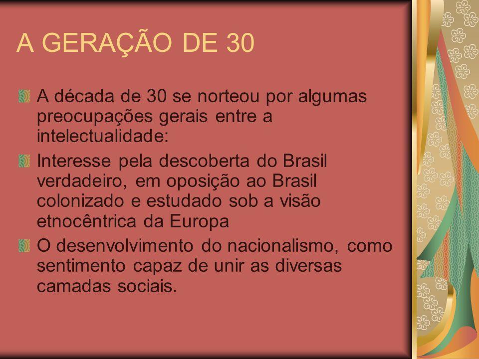 A GERAÇÃO DE 30 A década de 30 se norteou por algumas preocupações gerais entre a intelectualidade: Interesse pela descoberta do Brasil verdadeiro, em