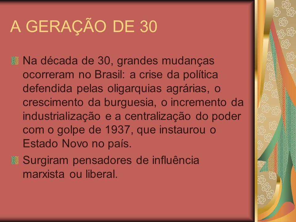 A GERAÇÃO DE 30 Na década de 30, grandes mudanças ocorreram no Brasil: a crise da política defendida pelas oligarquias agrárias, o crescimento da burg