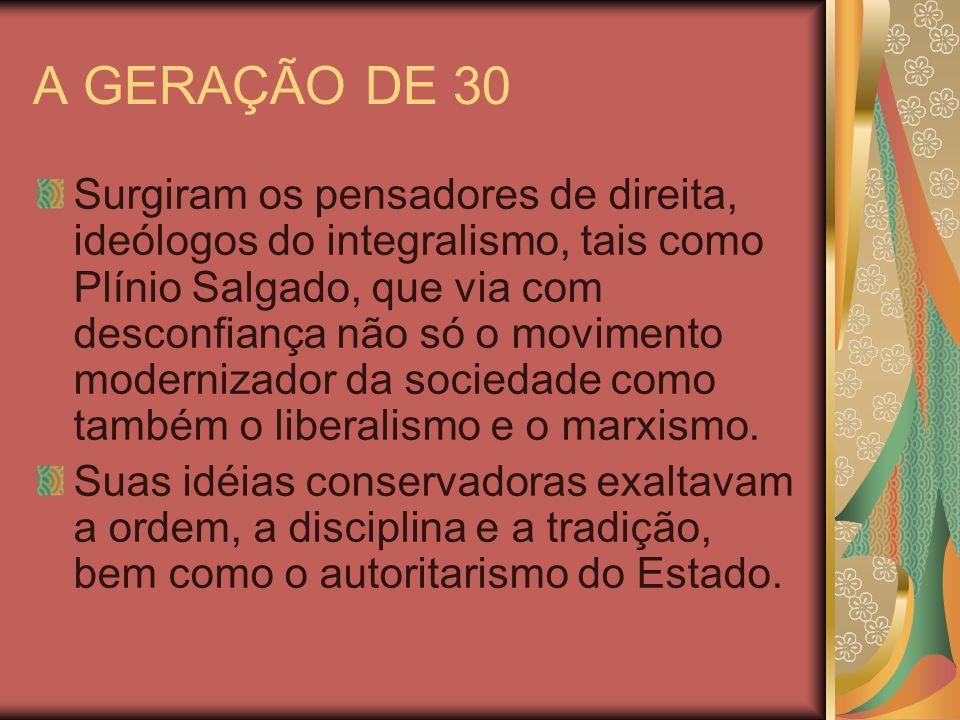 A GERAÇÃO DE 30 Surgiram os pensadores de direita, ideólogos do integralismo, tais como Plínio Salgado, que via com desconfiança não só o movimento mo