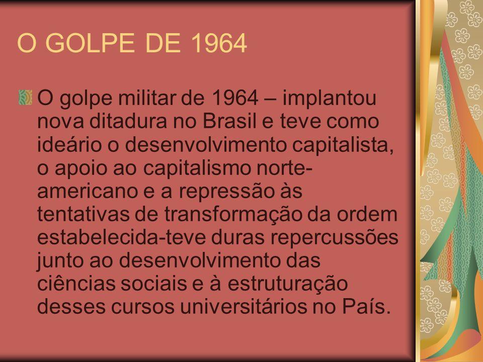 O GOLPE DE 1964 O golpe militar de 1964 – implantou nova ditadura no Brasil e teve como ideário o desenvolvimento capitalista, o apoio ao capitalismo