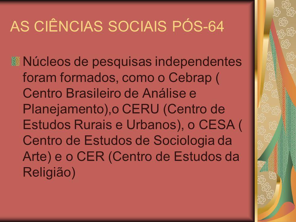 AS CIÊNCIAS SOCIAIS PÓS-64 Núcleos de pesquisas independentes foram formados, como o Cebrap ( Centro Brasileiro de Análise e Planejamento),o CERU (Cen