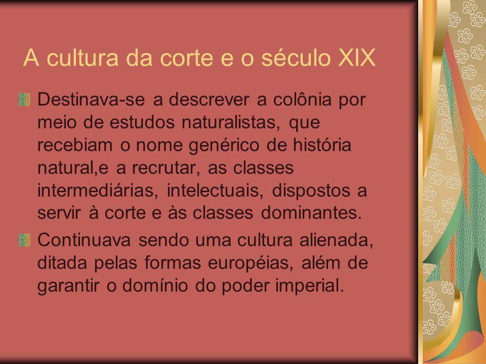 A cultura da corte e o século XIX Destinava-se a descrever a colônia por meio de estudos naturalistas, que recebiam o nome genérico de história natura