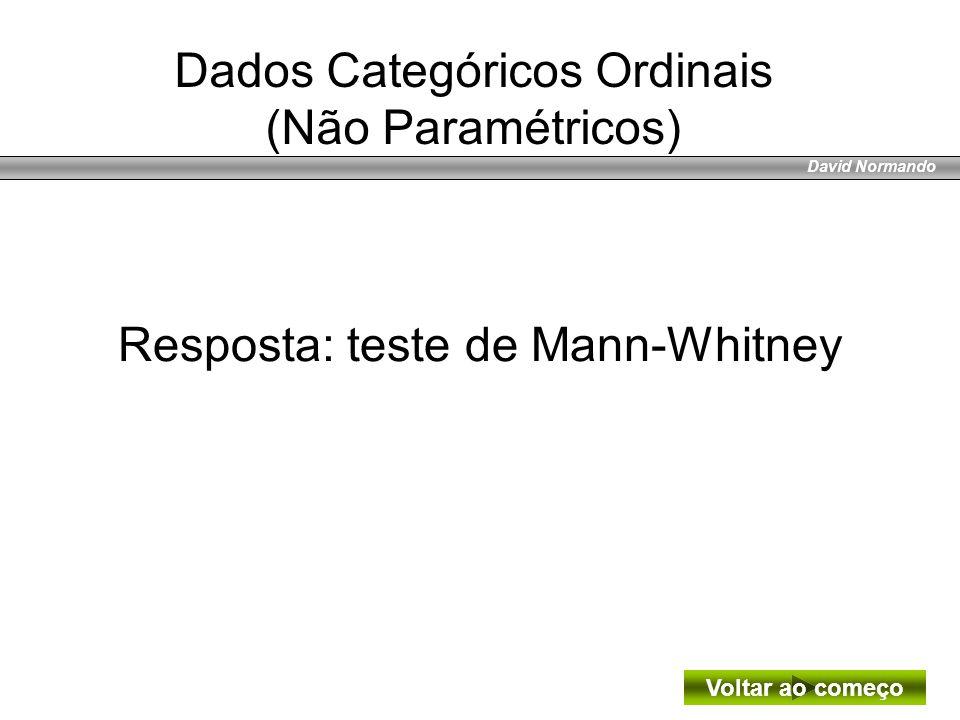 David Normando Resposta: teste de Mann-Whitney Voltar ao começo Dados Categóricos Ordinais (Não Paramétricos)