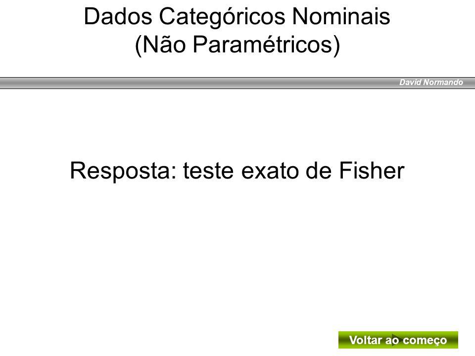 David Normando Resposta: teste exato de Fisher Dados Categóricos Nominais (Não Paramétricos) Voltar ao começo