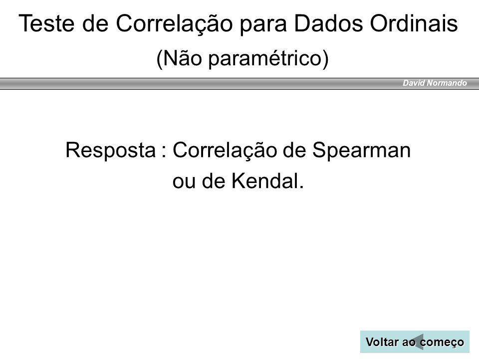 David Normando Resposta : Correlação de Spearman ou de Kendal. Voltar ao começo Voltar ao começo Teste de Correlação para Dados Ordinais (Não paramétr