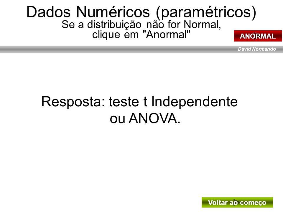David Normando Resposta: teste t Independente ou ANOVA. Voltar ao começo Dados Numéricos (paramétricos) Se a distribuição não for Normal, clique em
