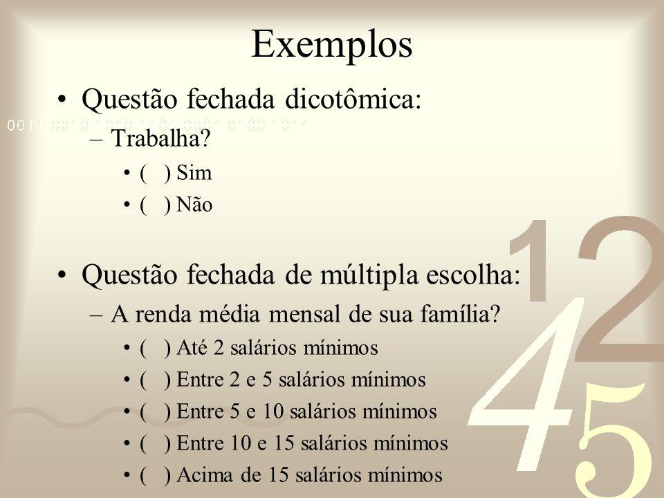Exemplos Questão fechada dicotômica: –Trabalha? ( ) Sim ( ) Não Questão fechada de múltipla escolha: –A renda média mensal de sua família? ( ) Até 2 s