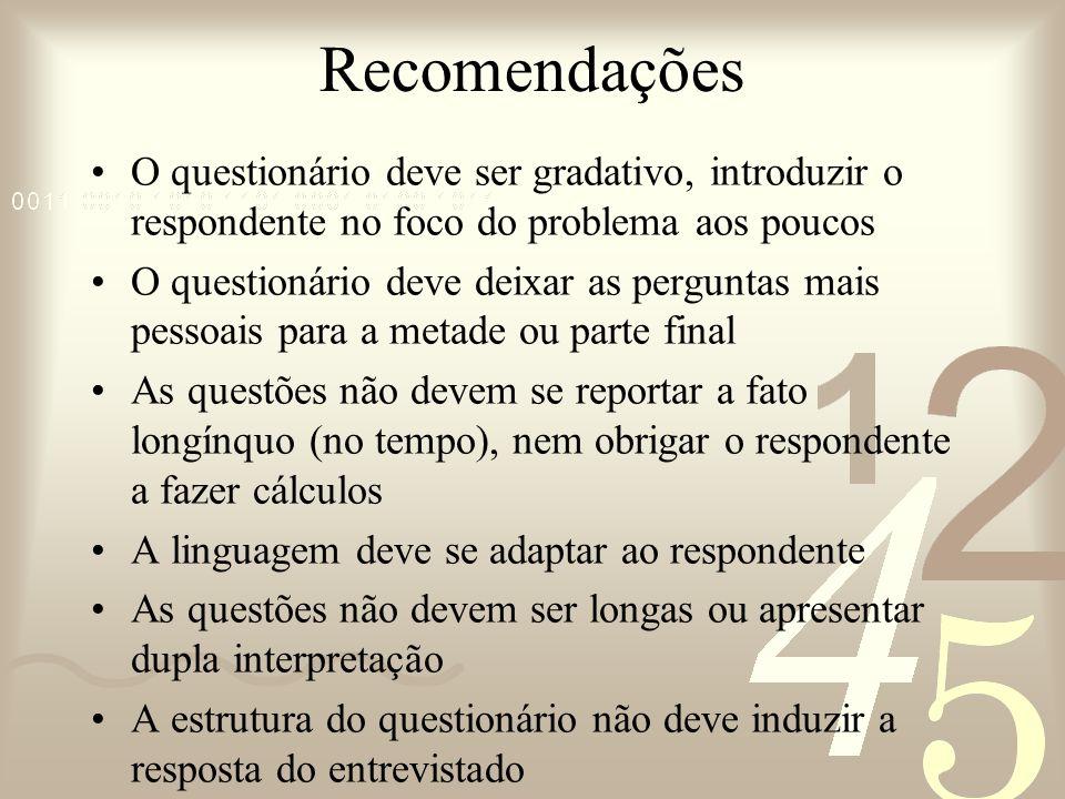 Recomendações O questionário deve ser gradativo, introduzir o respondente no foco do problema aos poucos O questionário deve deixar as perguntas mais