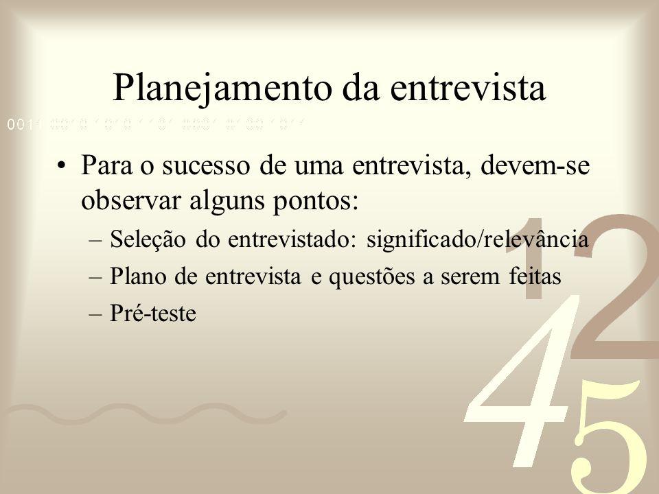 Planejamento da entrevista Para o sucesso de uma entrevista, devem-se observar alguns pontos: –Seleção do entrevistado: significado/relevância –Plano
