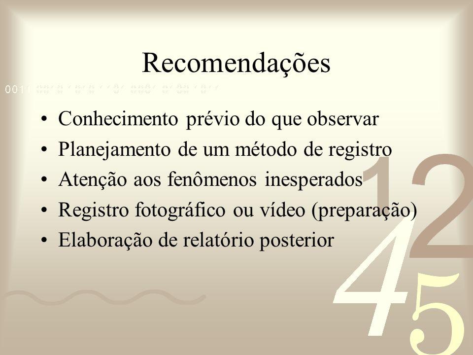 Recomendações Conhecimento prévio do que observar Planejamento de um método de registro Atenção aos fenômenos inesperados Registro fotográfico ou víde