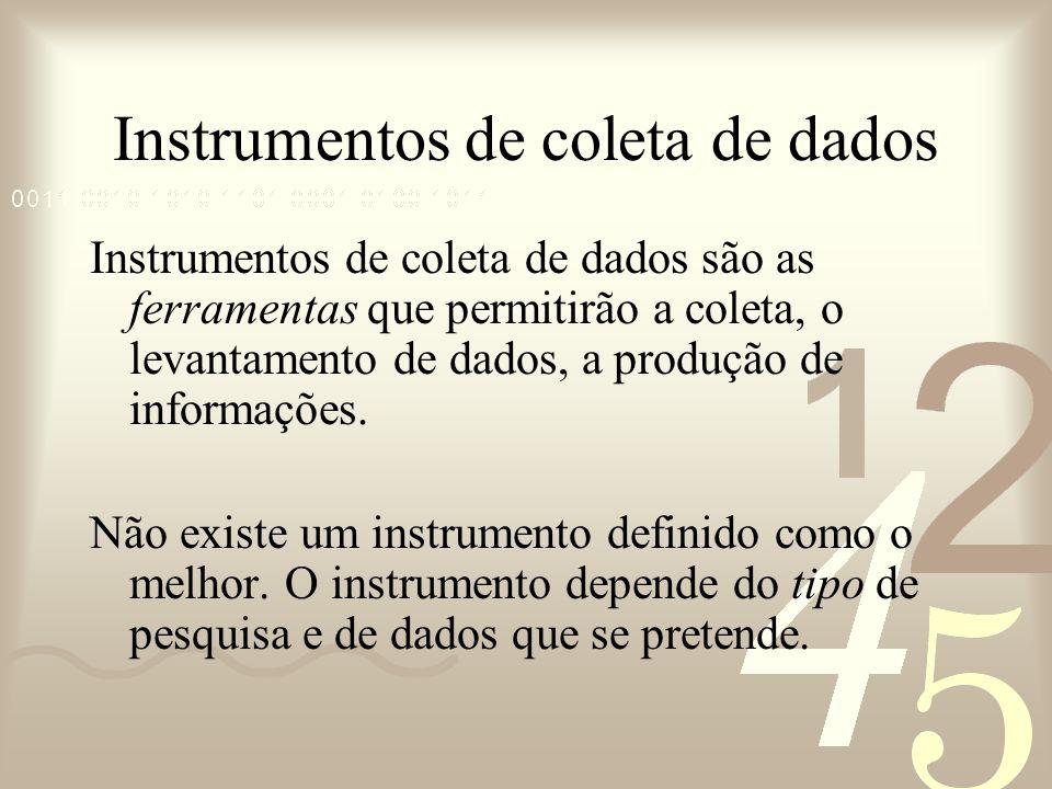 Instrumentos de coleta de dados Instrumentos de coleta de dados são as ferramentas que permitirão a coleta, o levantamento de dados, a produção de inf