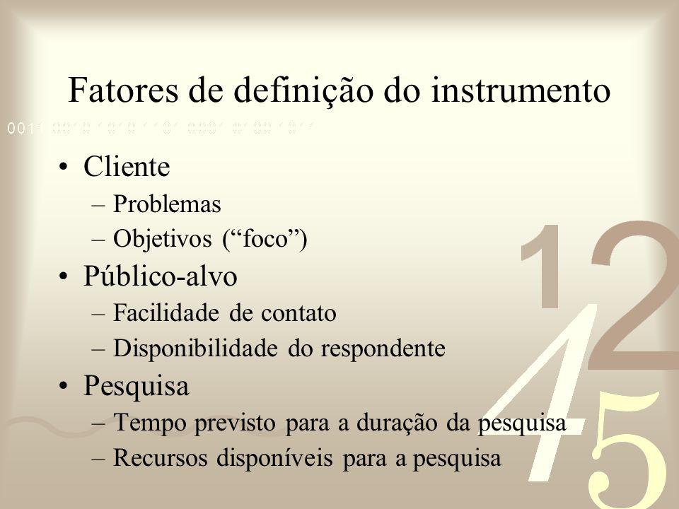 Fatores de definição do instrumento Cliente –Problemas –Objetivos (foco) Público-alvo –Facilidade de contato –Disponibilidade do respondente Pesquisa