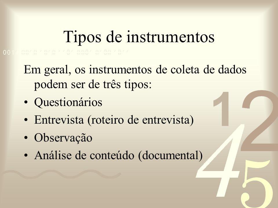 Tipos de instrumentos Em geral, os instrumentos de coleta de dados podem ser de três tipos: Questionários Entrevista (roteiro de entrevista) Observaçã