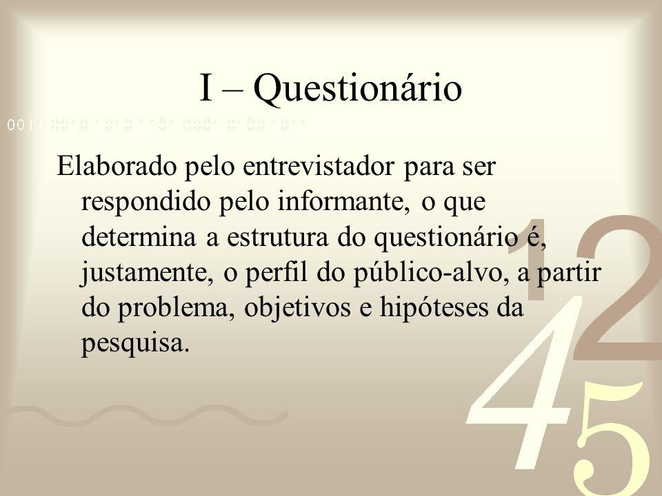 I – Questionário Elaborado pelo entrevistador para ser respondido pelo informante, o que determina a estrutura do questionário é, justamente, o perfil
