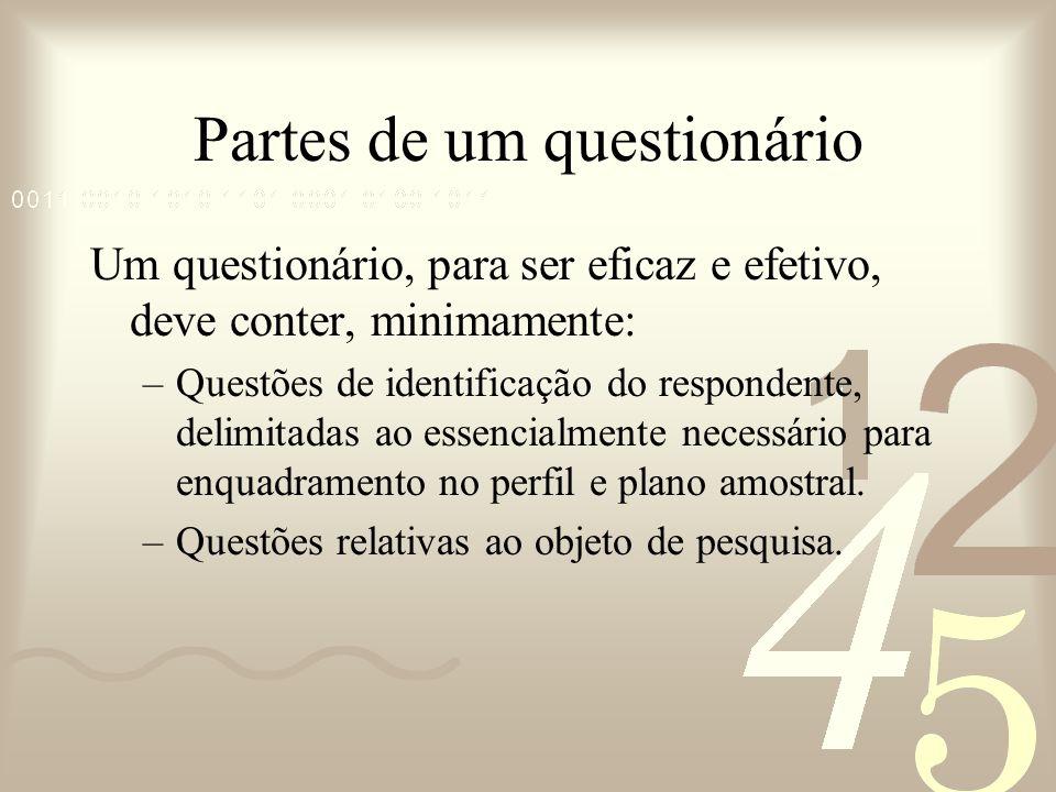 Partes de um questionário Um questionário, para ser eficaz e efetivo, deve conter, minimamente: –Questões de identificação do respondente, delimitadas