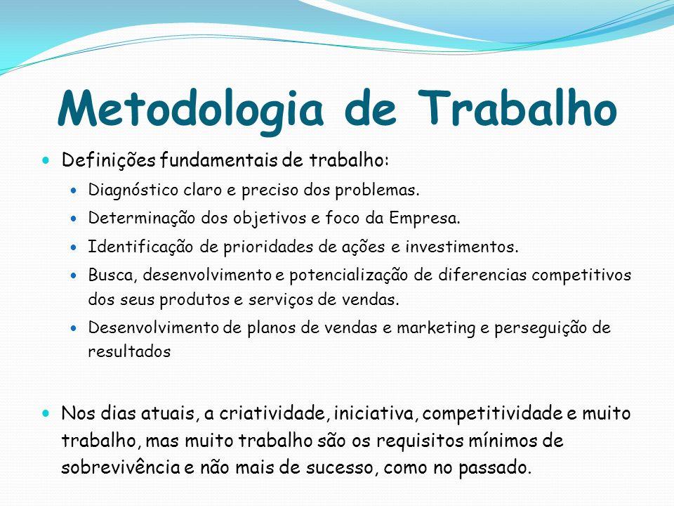 Metodologia de Trabalho Definições fundamentais de trabalho: Diagnóstico claro e preciso dos problemas. Determinação dos objetivos e foco da Empresa.