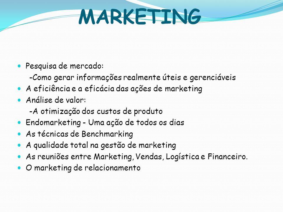 MARKETING Pesquisa de mercado: -Como gerar informações realmente úteis e gerenciáveis A eficiência e a eficácia das ações de marketing Análise de valo