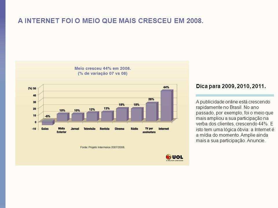 A INTERNET FOI O MEIO QUE MAIS CRESCEU EM 2008.Dica para 2009, 2010, 2011.