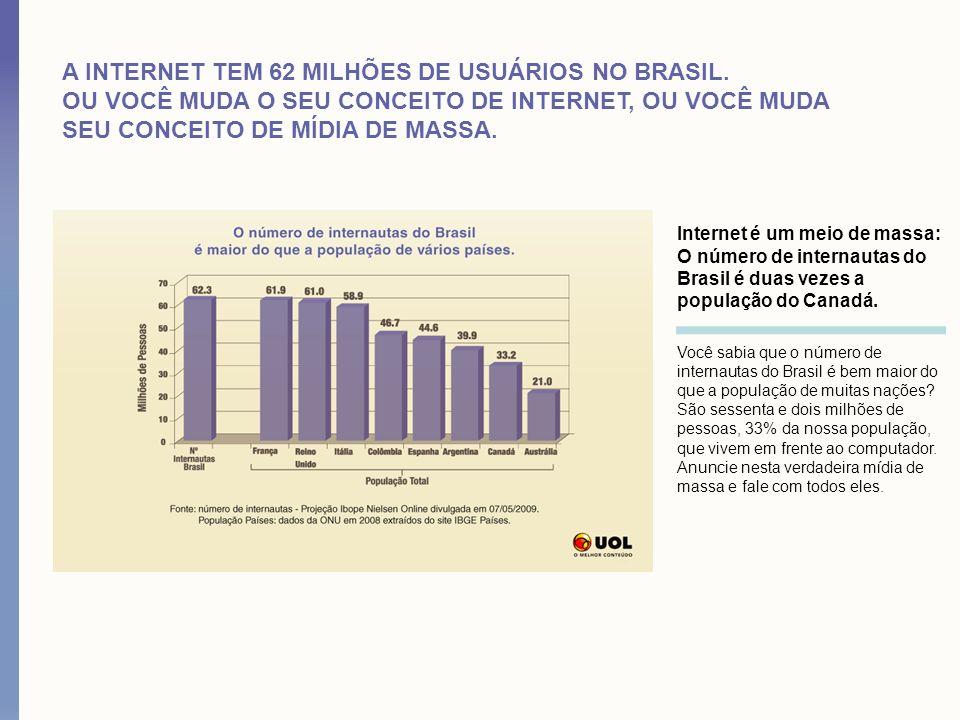 A INTERNET TEM 62 MILHÕES DE USUÁRIOS NO BRASIL. OU VOCÊ MUDA O SEU CONCEITO DE INTERNET, OU VOCÊ MUDA SEU CONCEITO DE MÍDIA DE MASSA. Internet é um m