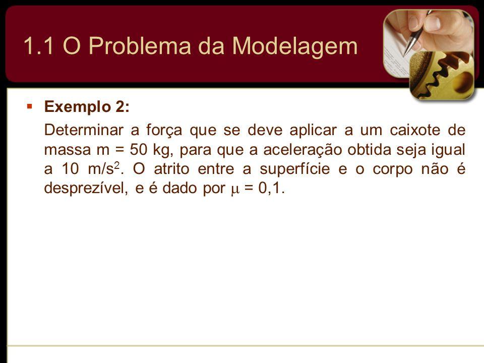 1.1 O Problema da Modelagem Exemplo 2: Determinar a força que se deve aplicar a um caixote de massa m = 50 kg, para que a aceleração obtida seja igual
